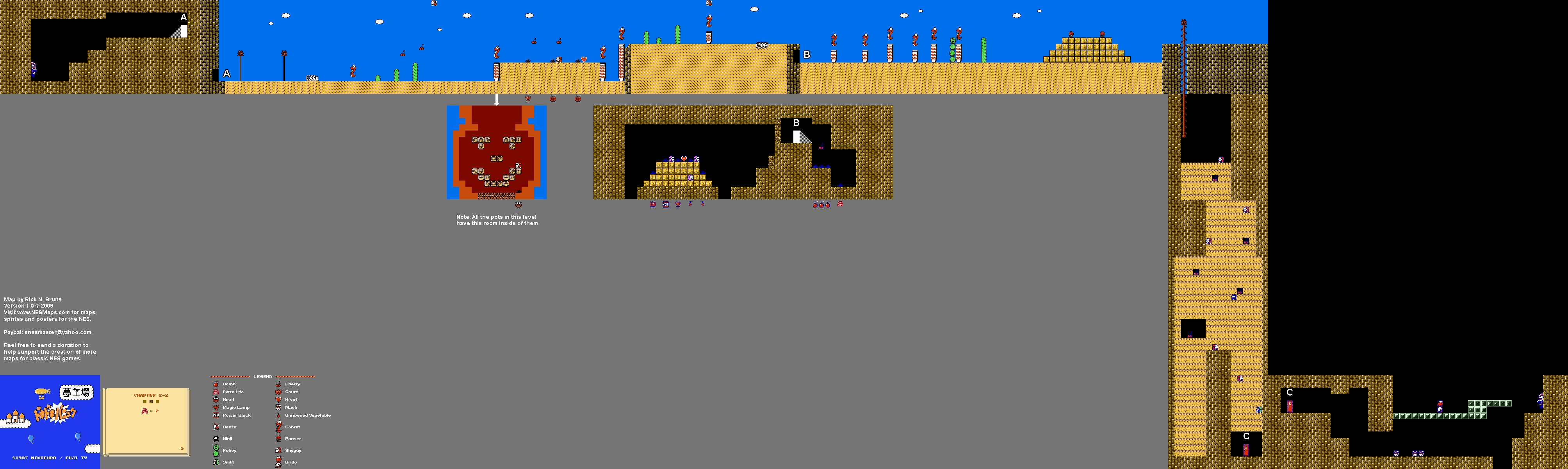 Doki Doki Panic - Chapter 2-2 Nintendo NES Famicom FDS Map
