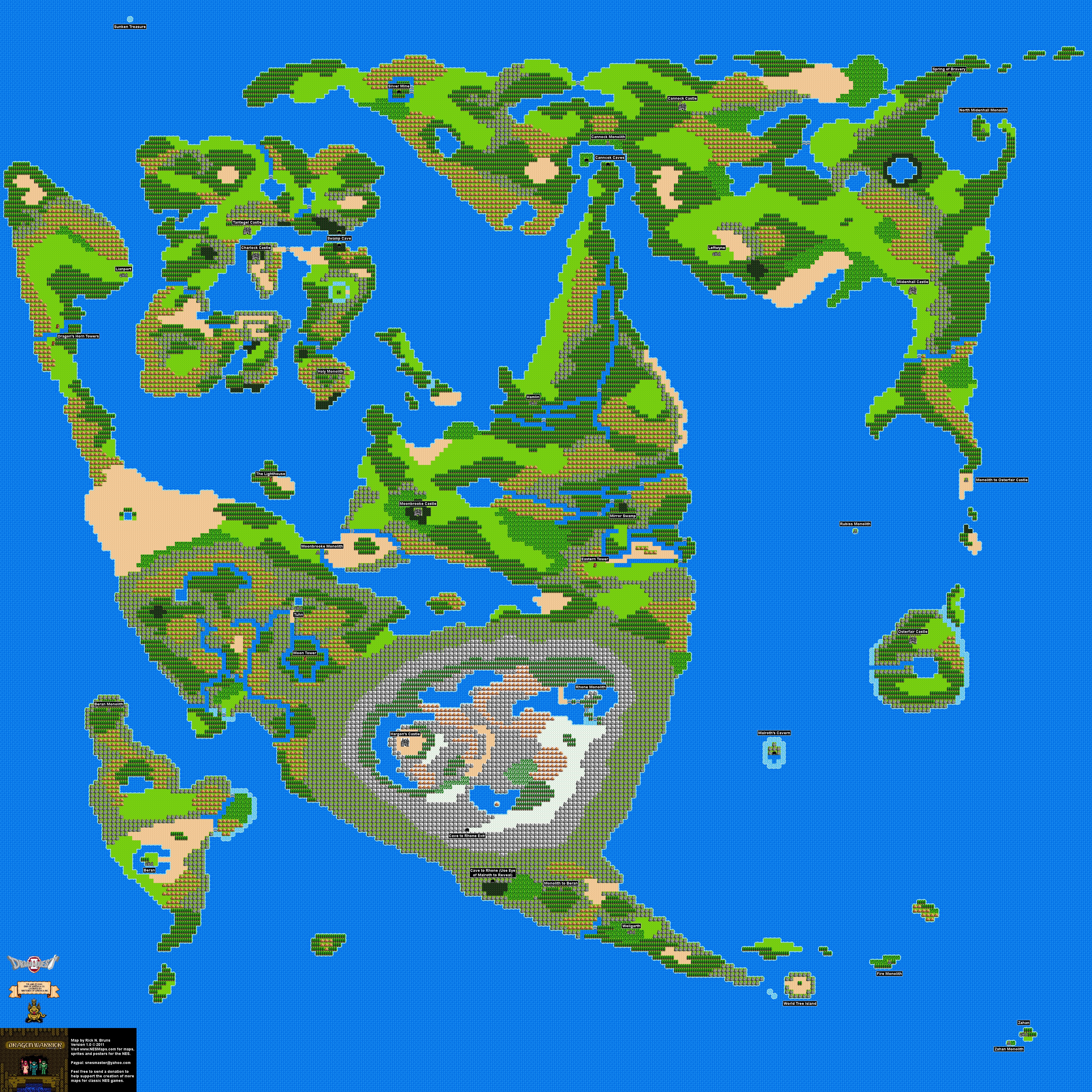 Dargon Warrior Ii Overworld Nintendo Nes Map