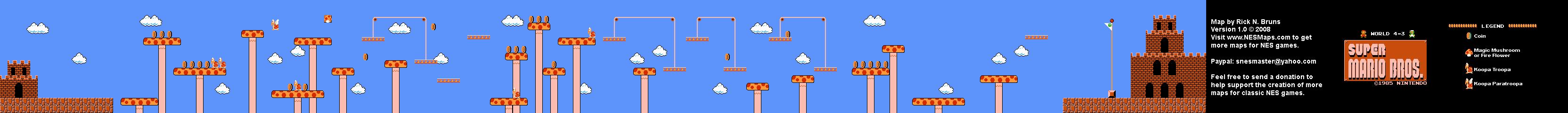 Super Mario Brothers World 4 3 Nintendo Nes Map