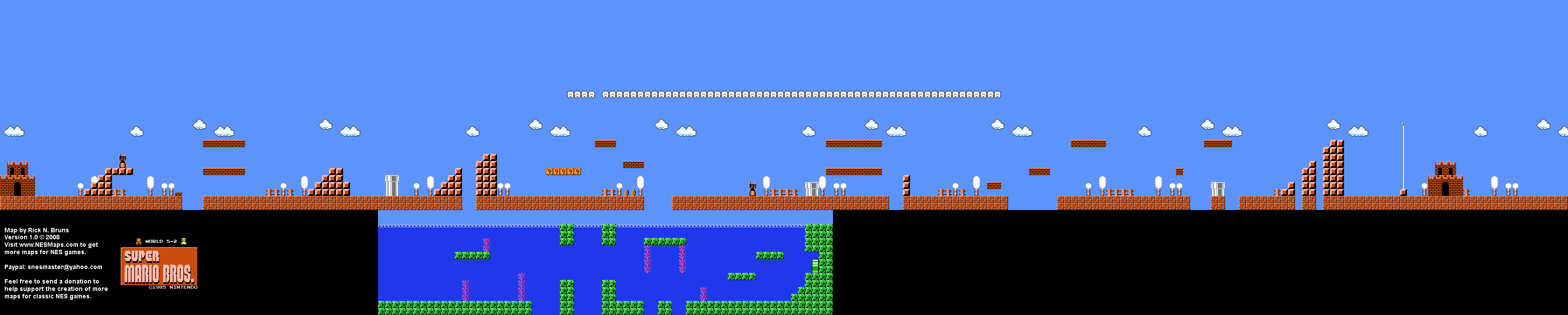 Super Mario Brothers - World 5-2 Nintendo NES Background Only Map