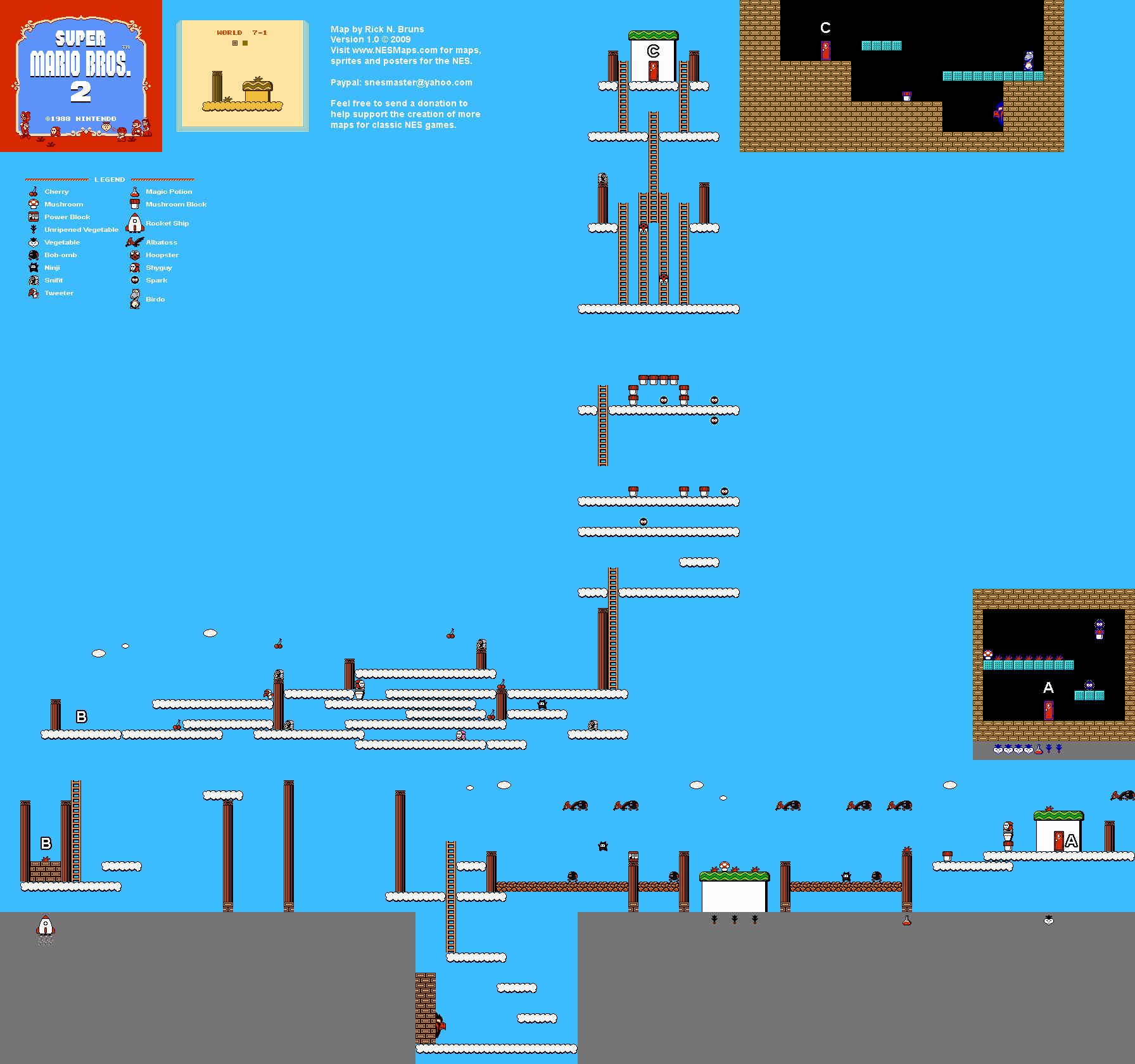 Super Mario Brothers 2 - World 7-1 Nintendo NES Map