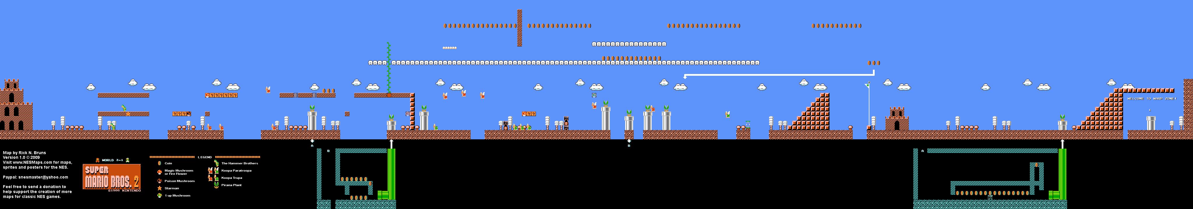 Super Mario Bros 2 Japan The Lost Levels World 3 1 Nintendo Nes Famicom Fds Map