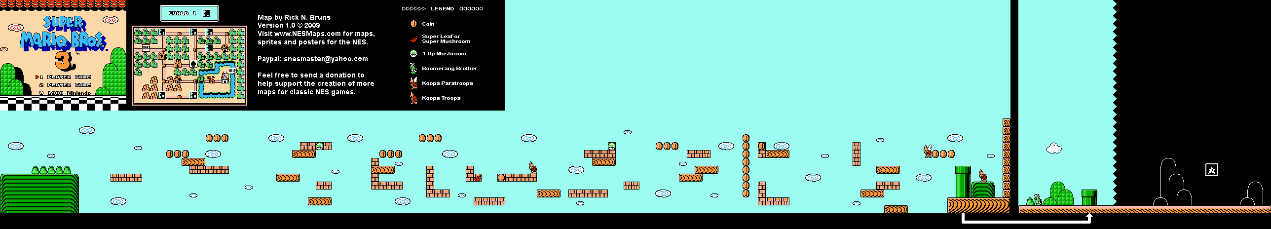 Super Mario Brothers 3 - World 1-4 Nintendo NES Map
