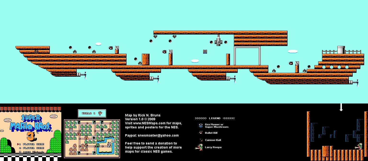 Super Mario Brothers 3 - World 1 Airship Nintendo NES Map
