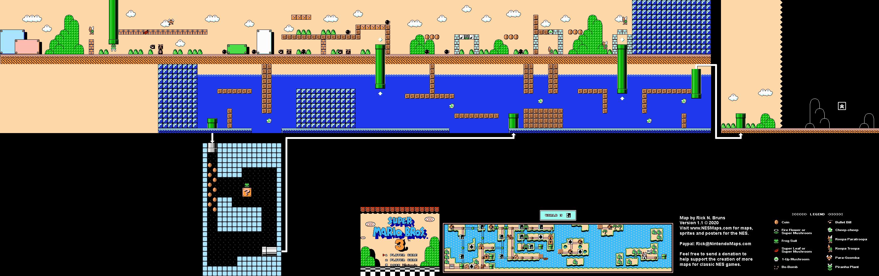 Super Mario Brothers 3 World 3 9 Nintendo Nes Map