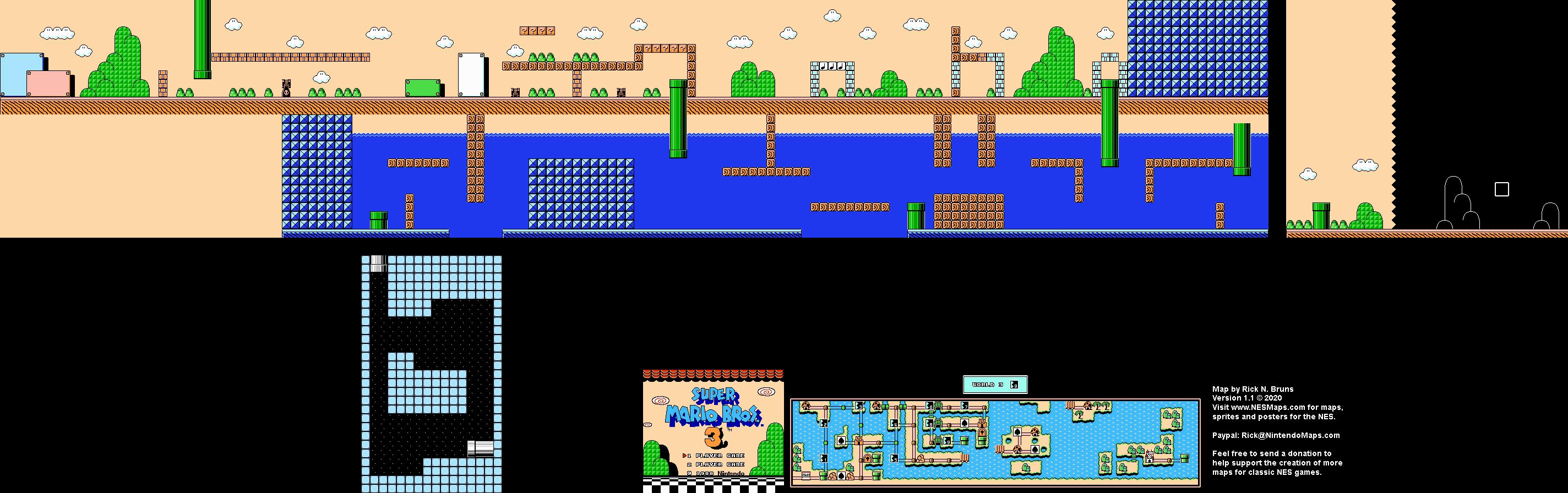 Super Mario Brothers 3 - World 3-9 Nintendo NES Map BG