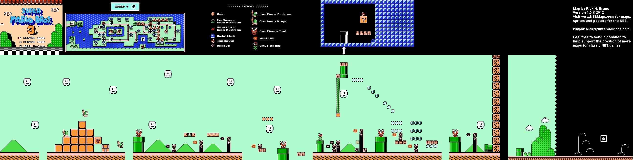 Super Mario Brothers 3 - World 4-5 Nintendo NES Map