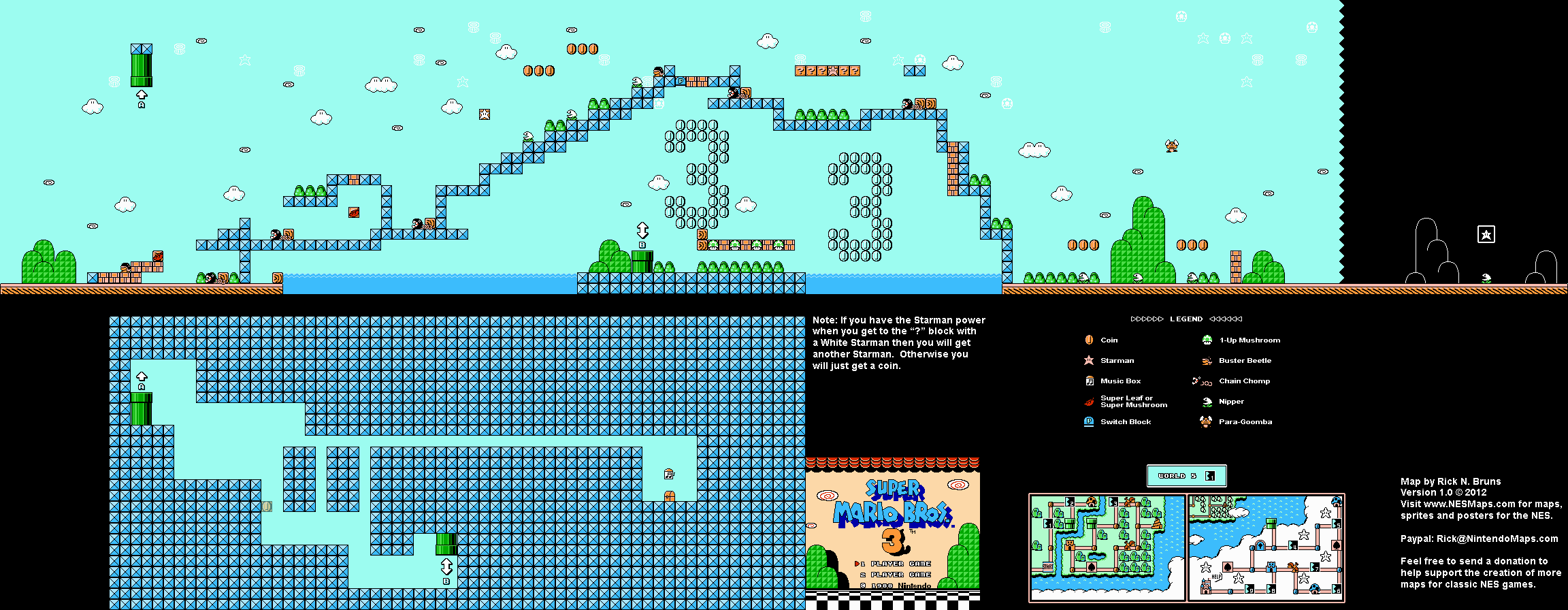Super Mario Brothers 3 World 5 1 Nintendo Nes Map