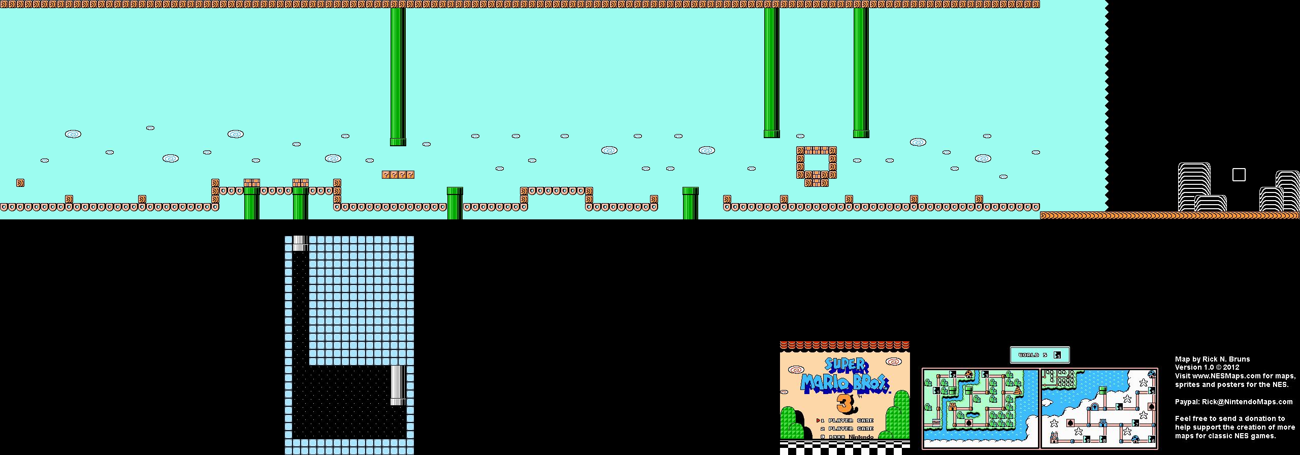 Super Mario Brothers 3 - World 5-5 Nintendo NES Map BG