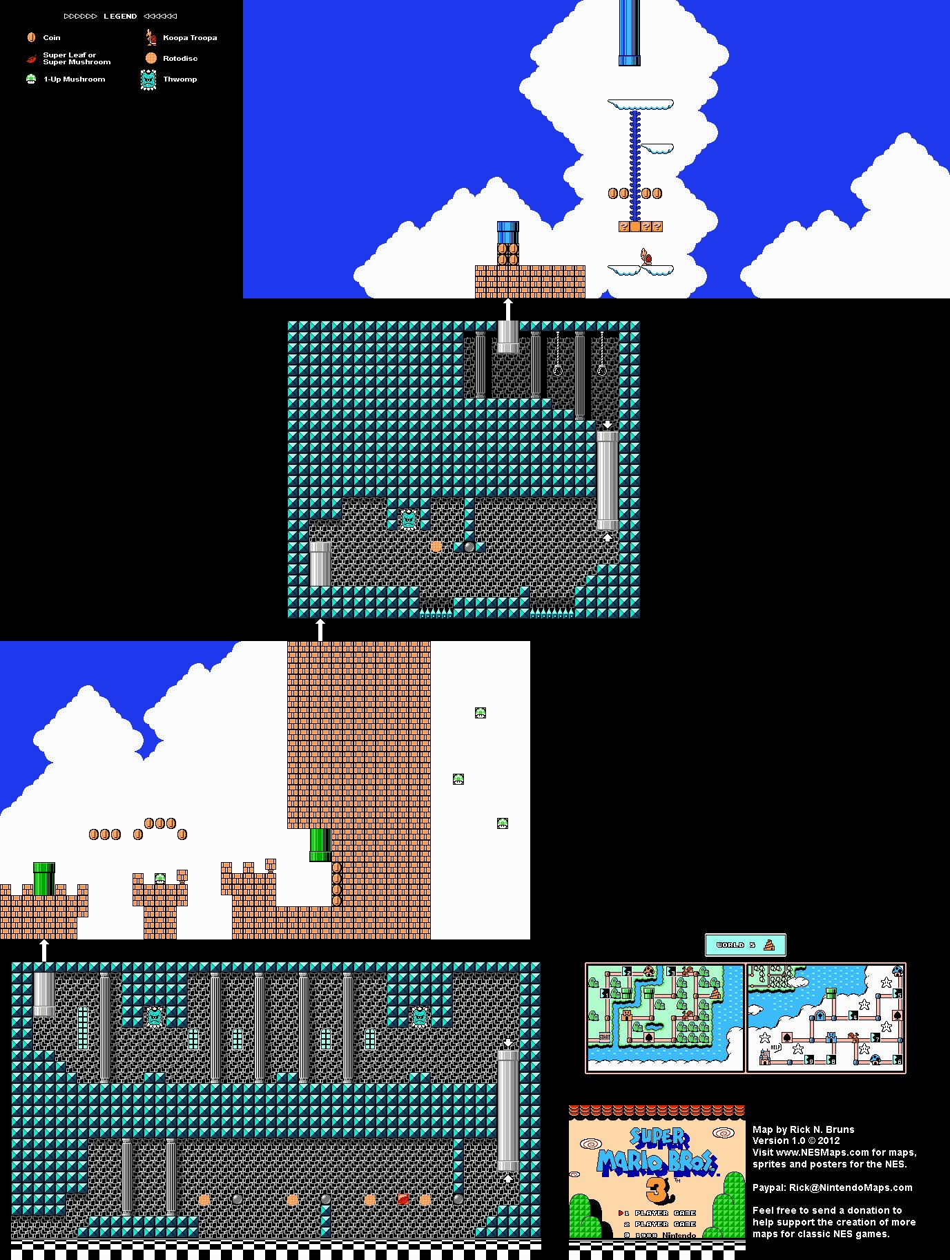 Super Mario Brothers 3 - World 5 Tower Nintendo NES Map