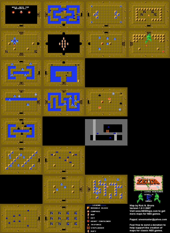 The Legend of Zelda - Level 4 Snake Quest 1 Map