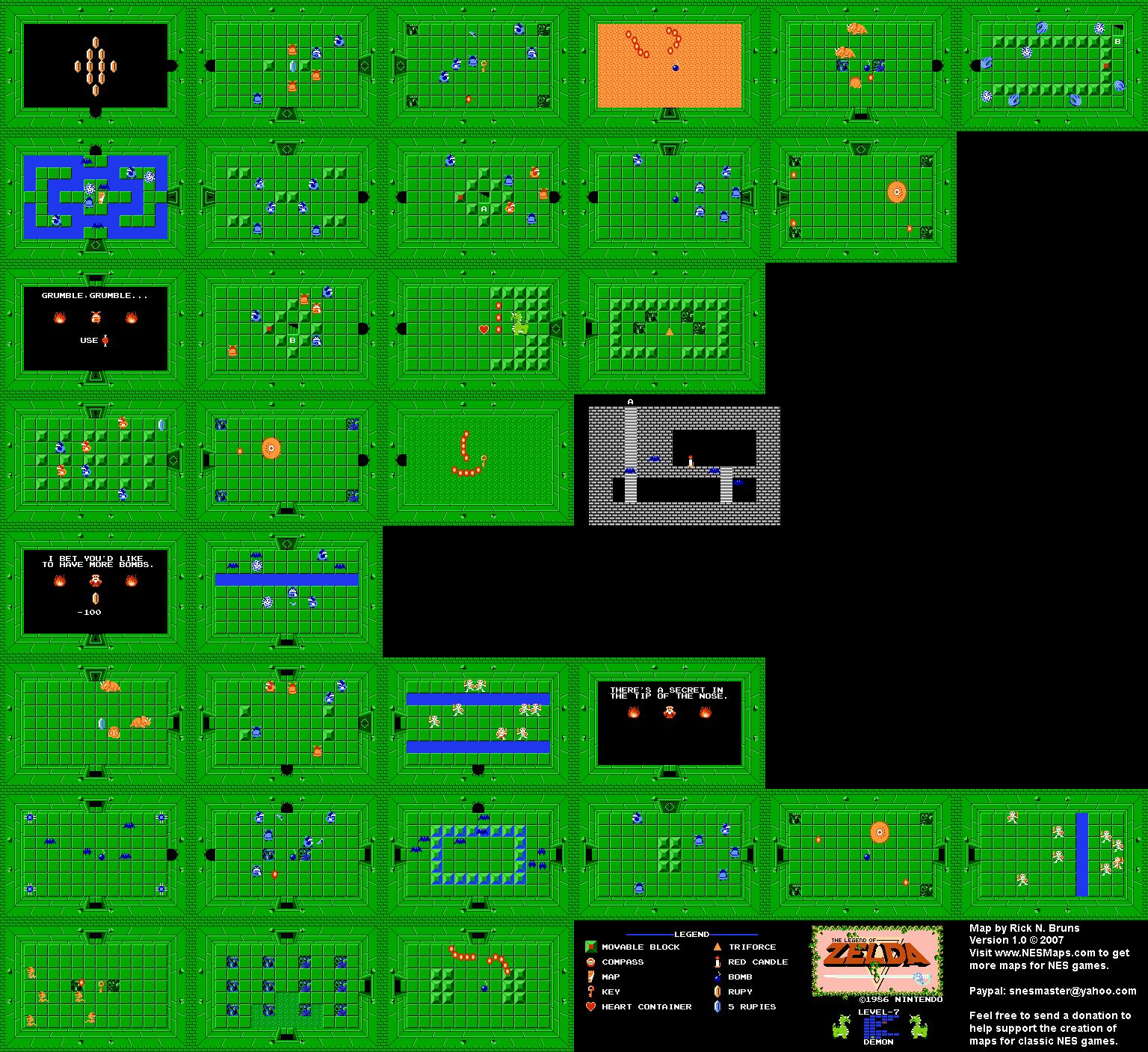 The Legend of Zelda - Level 7 Demon Quest 1 Map