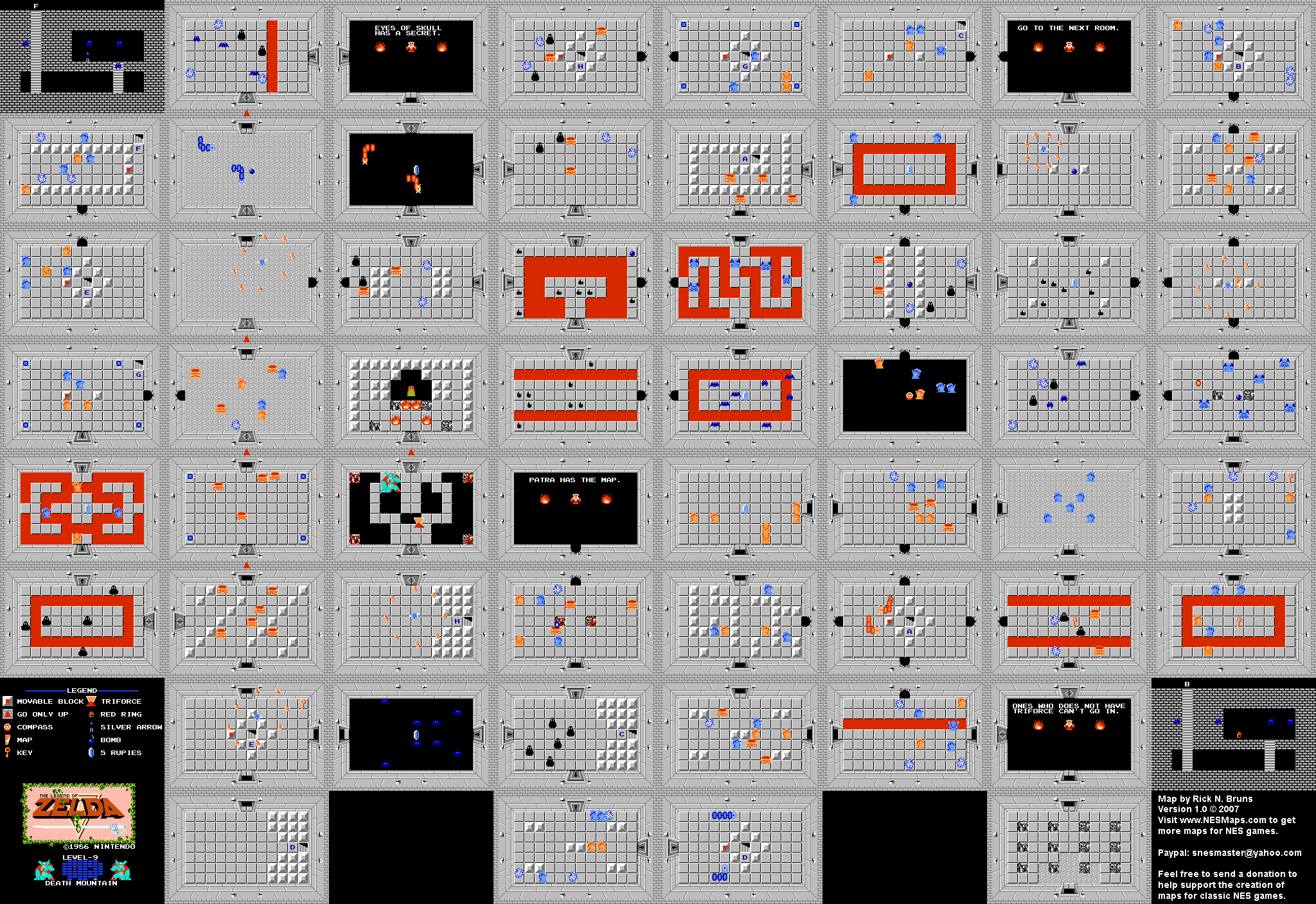 The Legend of Zelda - Level 9 Death Mountain Quest 1 Map