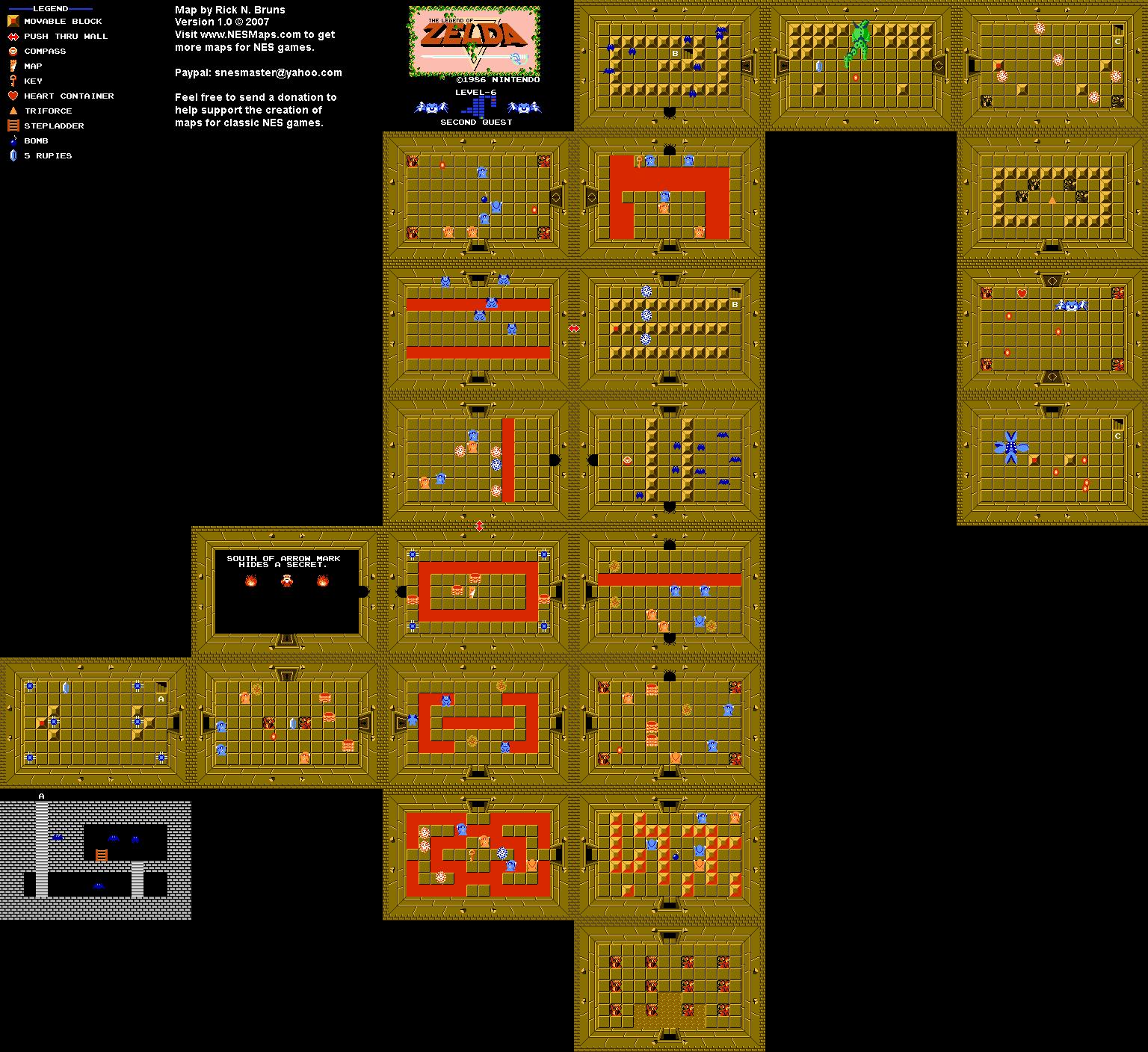 The Legend Of Zelda Level 6 Quest 2 Map