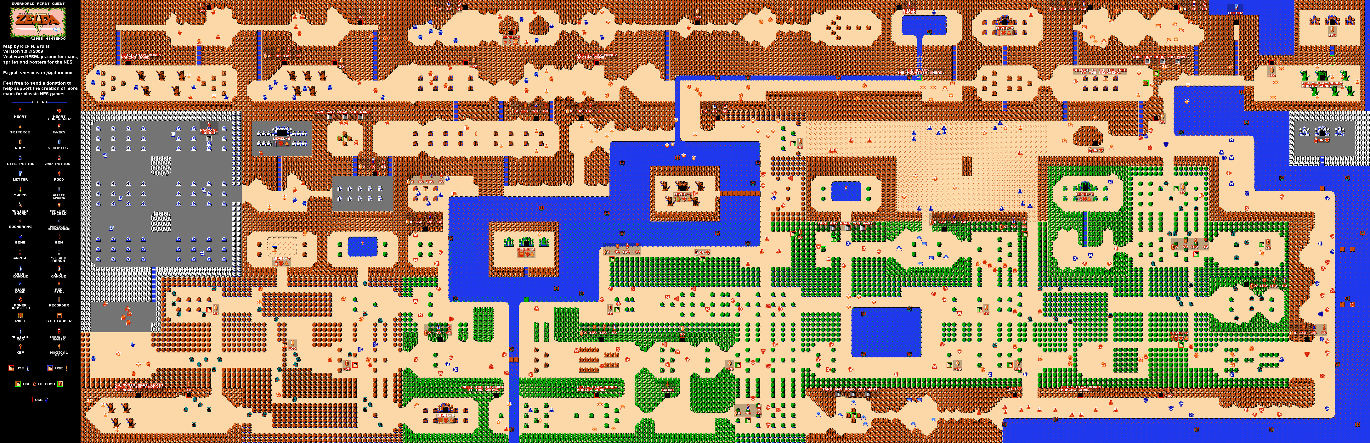 Legend Of Zelda World Map The Legend of Zelda   Overworld Quest 1 Map